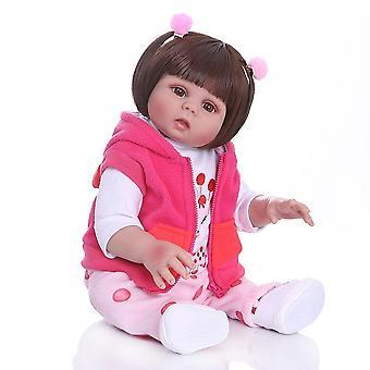 New full body soft silcone waterproof 48cm newborn bebe doll reborn doll baby girl in pink dress realistic baby bath toy