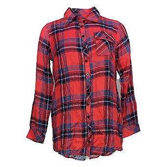 Tolani Collection Women's Top XSP Petite Plaid Tunic Red A383446
