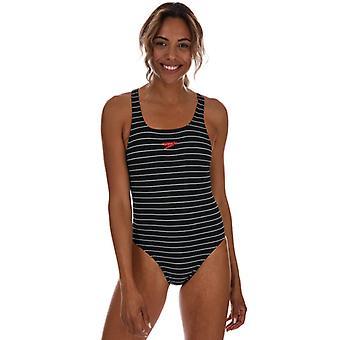 Naisten Speedo Endurance+ Raidallinen mitalisti uimapuku musta