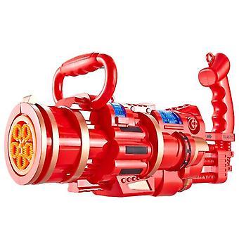 Stor automatisk boblemaskine opgradering kølig belysning dynamisk lyd børns store (rød)