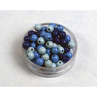 8mm blå Mix træ Threading perler voksne håndværk - 118pk