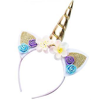 Dream Unicorn Flower Hair Hoop Children's Birthday Gift(Golden)