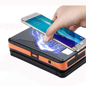 Banca di energia solare Qi wireless portatile da 20.000 mAh con torcia a LED e caricabatterie per telefono impermeabile IP6 per campeggio, (arancione)