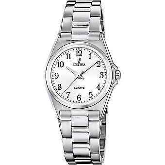 Festina F20553-1 Women's White Dial Steel Bracelet Wristwatch
