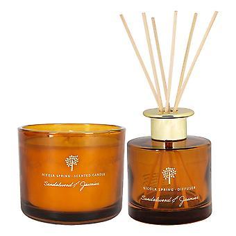 Geurkaars &riet diffuser set cadeau 33hr branden 300g sandelhout & jasmijn