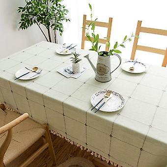 Geborduurd tafelkleed effen kleur katoen kwastje vierkante salontafel tafel mat hotel banket
