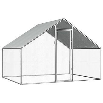 Udendørs kyllingebur galvaniseret stål 2,75x2x1,92 m