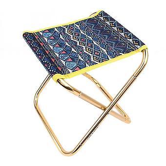 Mini Portable Folding Stool Aluminum Alloy Outdoor Camping Lightweight Folding Chair(Ocean Blue)