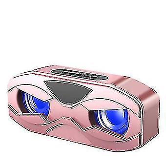 zewnętrzny przenośny bezprzewodowy głośnik Bluetooth, dwa głośniki, subwoofer, wyświetlacz LCD (Rose Gold)