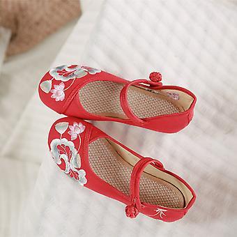 Lingbo Vår och Höst Kinesisk Stil Lotus och Lotus broderade skor, tygskor, Oxford sula, spänne, damer singelskor