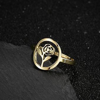 Guldpläterad ring med vacker blomma ros justerbar gåva