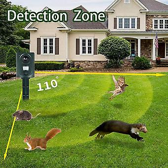 Outdoor Animal Repellent, Ultrasonic Cat Repeller With Motion Sensor And Flashing Lights Pet Cat Dog Birds Fox Deterrent Sonic Dog Repellents Protect