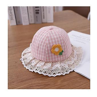 Adorable Baby Girls Floppy Hat Floral Brodé Hollow Wide Brim Spf 50+ Chapeau