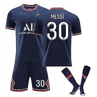 Messi #30 Jersey Home 2021-2022 Nieuw seizoen Kids Boys Paris Soccer T-shirts Jersey Set