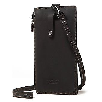 Leather Cell Phone Bag Hanging Neck Wallet Coin Purse Credit Card Pouch Pocket