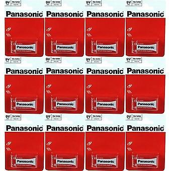 Panasonic 9 Volt Zinc carbon PP3 Battery - Pack of 12 (6F22R-1BP)