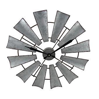 Maalaismainen ahdistuneita metalli tuulimylly-seinäkello 22 tuuman