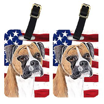 Carolines Treasures  SC9113BT Pair of USA American Flag with Boxer Luggage Tags