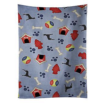 犬の家コレクション ブラック トリミング グレートデーン キッチン タオル