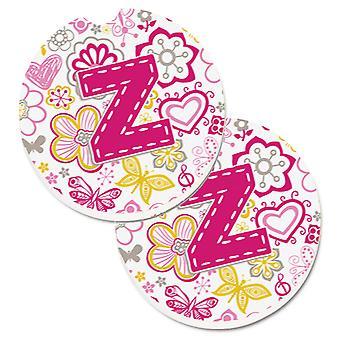 Letra Z flores y mariposas rosa juego de 2 tazas porta coche posavasos