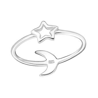 Star And Moon - 925 Sterling Silver Plain Rings - W24615X