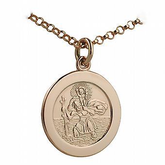 9ct розовое золото 21mmm раунд St Кристофер Кулон с Белчер цепи 24 дюймов