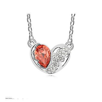 Designer Love Heart Necklaces Orange�Silver CZ Crystal Chain Pendant Necklace