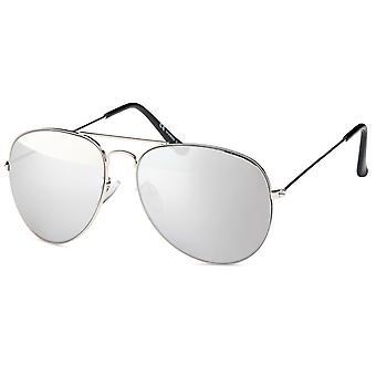 Bling metalen zonnebril - piloot zilver / gespiegelde