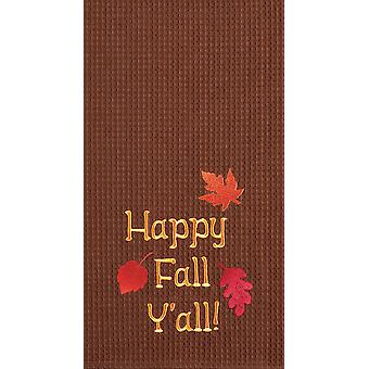 Autumn Leaves Happy Fall Yall Brown Kitchen Towel Waffle Weave 27 Inch