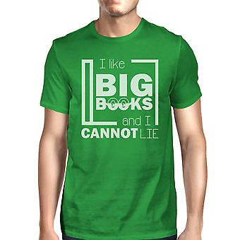 I Like Big Books Mens Green Funny Book Lover Gift T-Shirt For Him
