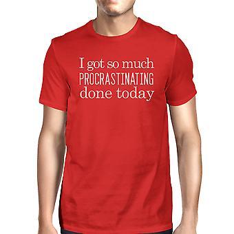 メンズ赤ユーモラスなデザイン グラフィック シャツは今日行って先延ばし