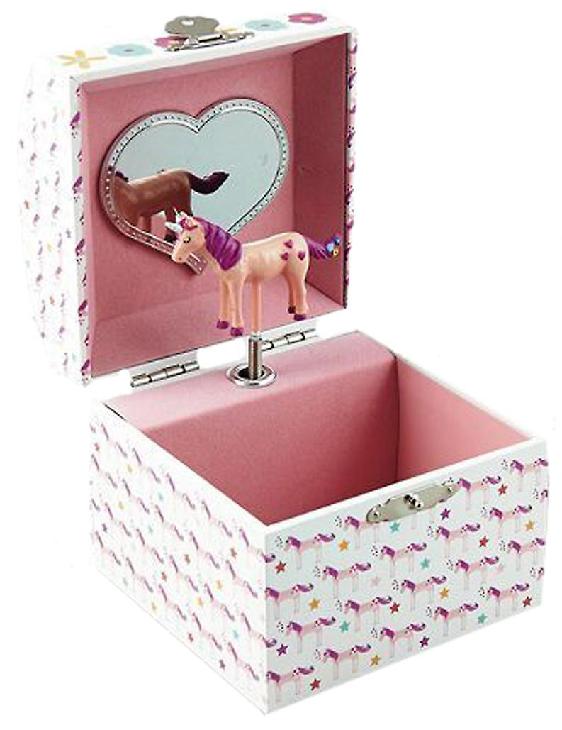 Girls unicorn musical jewellery box with silver necklace and earrings