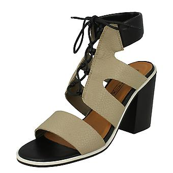 Mancha de senhoras no tornozelo coxim bloco salto sandálias F10540