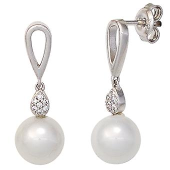 Rhodium-plated earrings 925 Sterling Silver earrings Silver earrings with cubic zirconia and pearls