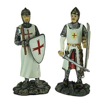 Medieval Crusaders Set of 2 Medieval Templar Knight Statues