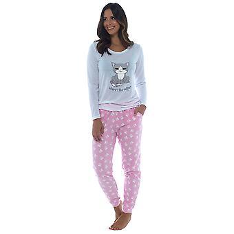 Foxbury kvinners grå katt print lang jersey topp nightwear pyjamas