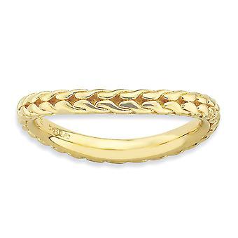 2.25mm 925 sterling sølv mønstret stables uttrykk polert 14k gullbelagt bølge ring smykker gaver til kvinner -