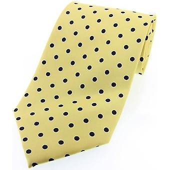 David Van Hagen Polka Dot Silk Twill Tie  - Yellow/Black