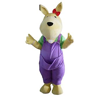 SPOTSOUND of yellow Kangaroo mascot, with a pair of Dungarees purple