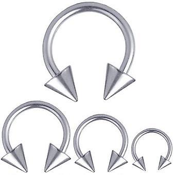 Cirkulär Barbell hästsko Titan Piercing 1,2 mm, spikar | Diameter 6-12 mm