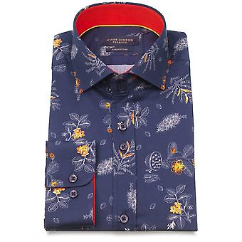 Guide London Navy Cotton Tropical Flower And Fruit Print Mens Shirt