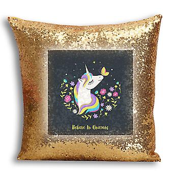 i-Tronixs - Unicorn Printed Design Gold Sequin Cushion / Pillow Cover with Inserted Pillow for Home Decor - 14