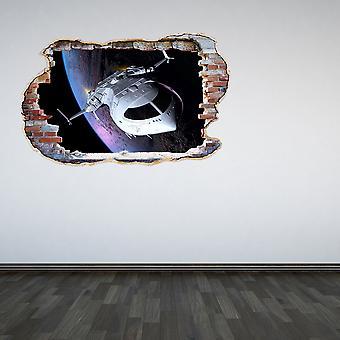 سفينة الفضاء اللون الكامل بتحطيم الجدار 3D تأثير الجدار ملصقا
