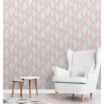 Elegante Apex Welle Seitenwand Rose Gold Tapete Wanddekoration 0,52 x 10,05 m