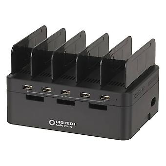 5 Port USB Charging Station w/ Storage Compartment