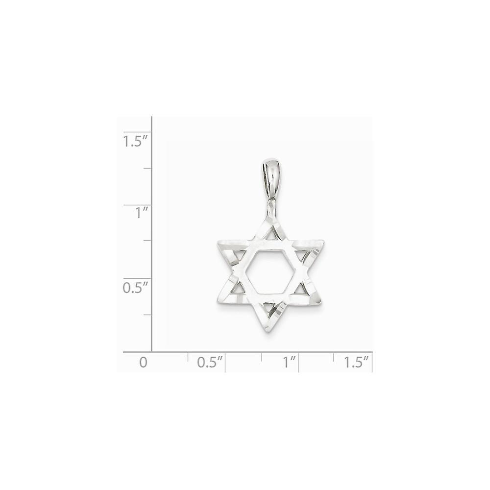 925 Sterling Silber solide poliert religiöse Judaica Stern von David mit funkeln geschnitten Kanten Anhänger Anhänger Halskette Schmuck