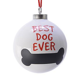 TRIXES 最佳狗曾经骨 Xmas 陶瓷装饰霜和红色