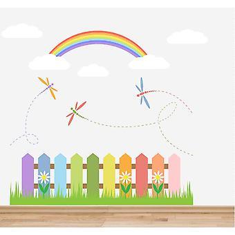 اللون الكامل الحضانة السور قوس قزح الغيوم ومجموعة ملصق حائط اليعسوب