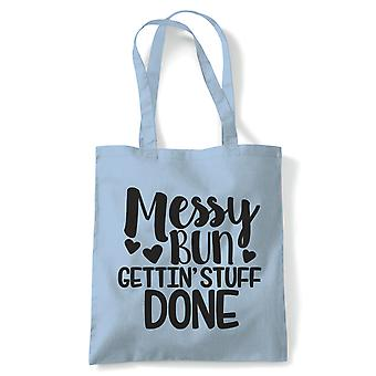 Messy Bun Gettin' Stuff Done, Tote - Reusable Shopping Canvas Bag Gift Her