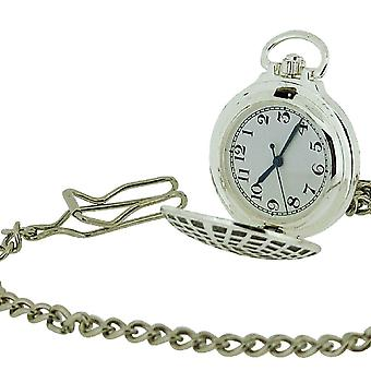 """Jakob Strauss Silver Tone With Cover Gents/Ladies Pocket Watch +12"""" Chain JAST41"""